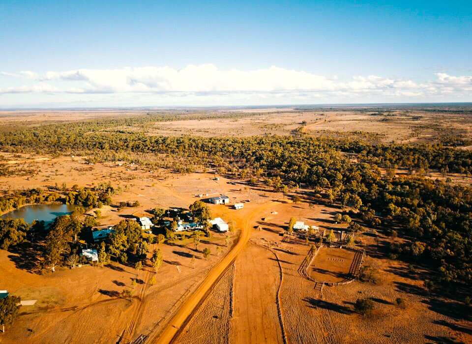 Flying in a helicopter in the outback
